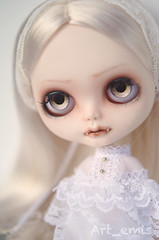 Luna (Art_emis) Tags: new white girl make up hair doll long dolls factory hand dress handmade drawing vampire ooak character painted bat luna blythe mold fangs custom takara eyelids batwings fictional rbl vampireskull reshaped