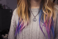 cotton candy (colorfulclare) Tags: pink blue winter portrait love me girl beauty fashion self canon hair neck sweater colorful clare peace room chest blonde faceless hippie chic dye hairstyle wavy comfy t3i selfie ootd colorfulclare