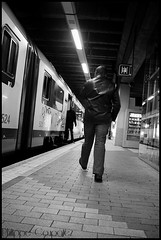 A day in a train 1 (Philippe Coupatez) Tags: people blackandwhite station train dock nikon noir mood gare noiretblanc trainstation instant inside blanc quai personne trein atmosphre d700 philippecoupatez
