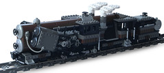 """Titan-Class"" Double-Boiler Locomotive (side) (aillery) Tags: train lego large engine twin double steam piston camel locomotive titan freight boiler camelback steampunk"