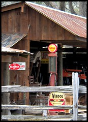 Roadside Rustic (Dusty_73) Tags: county red usa white signs rock barn america vintage town cola florida united small country rustic hamilton shell gas pump springs oil americana motor fl states roadside gasoline visible oils sinclair veedol petroliana