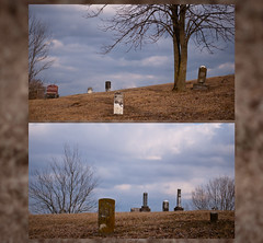 up the hill @ 55mm... (IndyEnigma) Tags: old tree cemetery clouds diptych headstone
