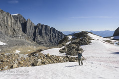 Exploration Above High Lake (Marc Shandro) Tags: canada mountains nature landscape stereoscopic bc view bright outdoor britishcolumbia scenic sunny bluesky alpine remote wilderness elevation barren rugged glacial canadianrockies