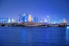 Doha at night (Abdulla555) Tags: city blue architecture night landscape boats doha qatar