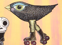 bird and skull on skates (PatriciaMonkey) Tags: silly bird art painting skull folkart rollerderby rollerskates skates lowbrow bigeye uploaded:by=flickrmobile flickriosapp:filter=nofilter