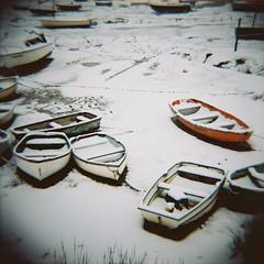 Boats in the snow, Leigh-on-Sea (nick richards art) Tags: winter sea england snow colour 120 beach thames boats coast seaside lomo lomography 120film diana coastal analogue dianaf essex southend analoguephotography