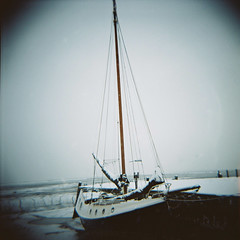 Boat in snow, Leigh-on-Sea (nick richards art) Tags: winter sea england snow colour 120 water thames river landscape boats coast seaside lomo lomography sand ship estuary 120film diana coastal analogue leigh dianaf essex leighonsea southend rigging analoguephotography