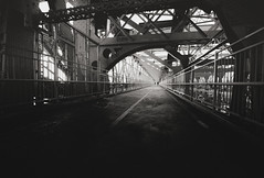 Willamsburg Bridge - New York City (Vivienne Gucwa) Tags: nyc newyorkcity bridge blackandwhite newyork architecture noir moody noiretblanc manhattan gritty gothamist curbed williamsburgbridge wnyc nycphoto newyorkphoto newyorkcityphotography moodynyc blackandwhitenewyorkcityphotography noirnyc