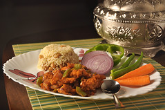 cHILI cHICKEN with fRIED rICE [Explored] (Bhaskar Dutta) Tags: food india chicken cuisine chili rice indian plate spoon fried platter shakhi