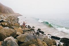 (SamBHart) Tags: nikon fm2 film 35mm california malibu los angeles beach ocean wave girl pointing rocks fog foggy pretty cute 400iso kodak ultramax 400 kodakultramax400