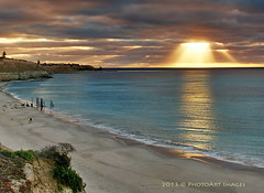 celestial light (PhotoArt Images) Tags: ocean sunset beach sunshine cliffs sunrays southaustralia portwillunga flickrsfinestimages1 photoartimages