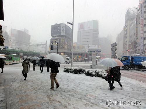 Snowing in Shinjuku. Tokyo Japan