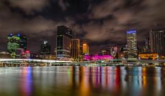 Brisbane Skyline taken from Southbank (sandynfowler) Tags: longexposure bridge water skyline buildings reflections river landscape lights nightscape australia brisbane southbank queensland southbrisbane brisbaneriver hdr canon6d flickraward5