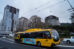Lambton Quay (andrewsurgenor) Tags: city newzealand urban bus buses yellow electric busse transport transit nz wellington publictransport streetscenes omnibus trolleybus obus trolleybuses citytransport trackless nzbus gowellington