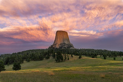 After The Storm (gauss5050) Tags: devils tower monument nationalpark usa united states trip travel wyoming sunset mood warm colors flickrunitedaward nikonflickraward sky mountain landscape cloud clouds