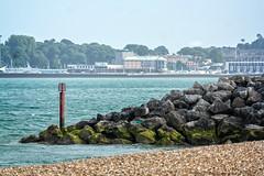 Stone Groyne and Pavilion (garryknight) Tags: csc dorset lightroom london nx2000 on1photo10 ononephoto10 pavilion photoshopelements prestonbeach samsung weymouth weymouthpavilion beach groyne rockgroyne sea seaside stonebreakwater