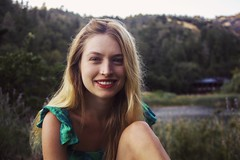 Morgan (lordgogurt) Tags: people person face portrait figure being body life girl gal female lady woman outdoor outdoors nature lawn field meadow lake dress hair hills hill hillside sit sitting seated green colors colorful light lighting smile expression emotion laugh happy blonde dusk evening sunset wine country calistoga winecountry