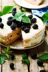 Honey cake with blackberry and whipped cream. (Zoryanchik) Tags: blackberry pie white fresh slice food sweet fruit tasty dessert plate delicious sugar cake berry closeup pastry bakery gourmet cuisine homemade bake vintage