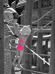 Little pink lady (Lala89_Photos) Tags: kid kids kinder kind mdchen girl pink rosa klettern climbing playground spielplatz child children spielen childhood kindheit innocence unschuld schwarzweis blackandwhite blackwhite