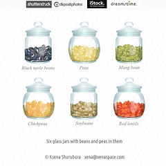 Glass jars with cereals in them (ksena_shu) Tags: stock microstock food beans cereals oilseeds vector illustration