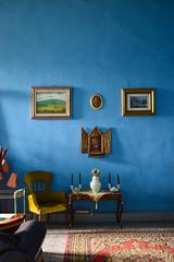 (ola_alexeeva) Tags:    art italy italian firenze florence painting   wall blue interior design airbnb