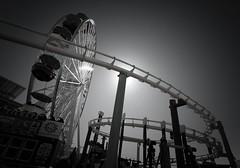 Ferris Wheel in Infrared (Luke 182) Tags: bw socal california amusementpark ferriswheel travel architecture pier losangeles la santamonicapier santamonica