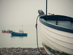 Overcast (ShrubMonkey (Julian Heritage)) Tags: sea west beach boats grey sussex coast fishing day shingle overcast panasonic g5 bow nautical hull selsey 14140