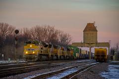 UP Stack Train at Nelson, IL - Attempt 2 (Christopher J May) Tags: railroad winter sunset sky snow train illinois nelson stack il unionpacific locomotive coalingtower emd intermodal doublestack sd70ace nikond600 genevasub nikon70300mmf4556vr