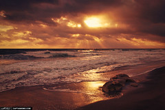 Sun-Rays-Through-the-Clouds-Over-the-Ocean-at-Beach