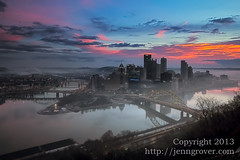 January Thaw (Jenn Grover) Tags: ohio cloud snow color water weather fog clouds sunrise canon washington pittsburgh cityscape mt mark january ii rivers 5d inversion usm f28 allegheny relfection thaw confluence monongahela 1635mm duqeusne inlcine fotostat