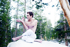 Yoga Man (ElenaRay) Tags: people white man male rock yoga forest asian woods focus energy sitting hand pants exercise spirit muscular being peaceful martialarts calm well clothes health chi strong balance meditation posture practice spirituality fitness taichi barechest fit asana qi mental prana wellness hatha qigong intention mudra