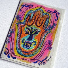 Hamsa Hand (Tree of Life) - Hand Painted Card (TamarHammer) Tags: pink eye cards handpainted greeting treeoflife judaica recycledpaper jewishholidays hamsahand judaismsymbols