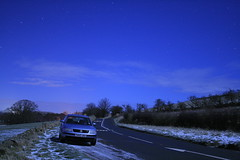 Midnight Car Shots (s_gibson72) Tags: road blue england snow car vw night volkswagen exposure frost north east northumberland b5 passat wooler