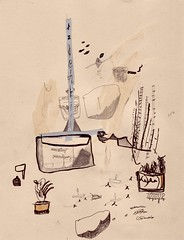 chimney garden (land & cinders) Tags: chimney ink garden paper candle drawing vessel bamboo sail mast gouache tealight