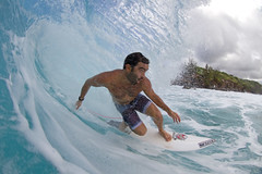 water project #73: eye of the storm (bluewavechris) Tags: ocean sea water canon hawaii surf close ride action surfer board tube barrel wave maui spray fisheye foam lip curl thebay swell honoluabay honolua cmthousing