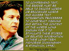 To comprehend text, the reader must be able to ..... (Ken Whytock) Tags: school students reading words education text access information recognize integration construct processes stimulate comprehension decode