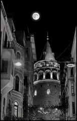 Galata Tower Istanbul (Sadettin Uysal) Tags: moon night turkey mond nacht trkiye istanbul trkei ay galata gece galatatower mehtap galatakulesi dolunay sadettinuysal
