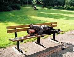 CNV00004 (Jelausin) Tags: park street camera sleeping sun man film 35mm bench homeless documentary laying