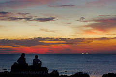 Weather (Chrisseee) Tags: travel sunset vacation sky people holiday weather silhouette clouds relax thailand lights couple rocks colorful asia sitting relaxing romantic fishingship