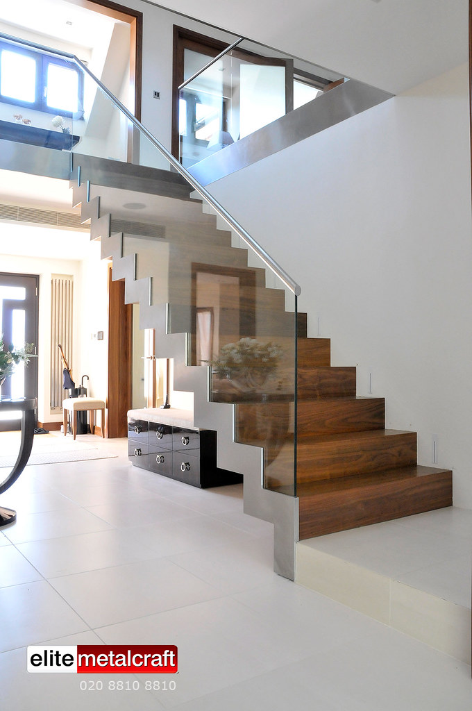 Modern Staircase Constructed From Steel, Glass, Marble And Hardwood Timber (Contemporary  Staircases)