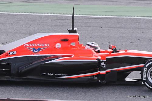 Max Chilton in his Marussia in Formula One Winter Testing, March 2013