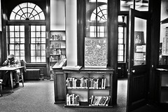 new york is book country (omoo) Tags: newyorkcity bw library nypl newyorkpubliclibrary westvillage keithharing greenwichvillage publiclibrary hudsonpark stlukesplace newyorkisbookcountry archedwindows bwphotograph mariannemoore branchlibrary paintingeffects librariansoffice hudsonparklibrary poetmariannemooreworkedatthislibrarybranch fscn6237 stlukesplaceandseventhavenuesouth linrarybooks