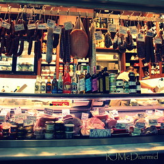 Deli Heaven 2 (RachaelMc) Tags: deli market markets queenvictoriamarket melbourne victoria travel tourism destination photography shops fabulous yum counters workers square crossprocessed treated rachaelmc rjmcdiarmid worker ham bacon pork porchetta