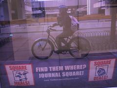 Journal Square (Night-thing) Tags: blue reflection bike cycling jerseycity biking schwinn bikebyshooting selfie journalsquare ridethecity