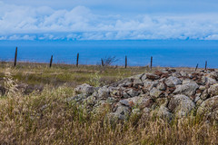 Rock Pile and Fence Show Agricultural Roots of Santa Cruz Island (Lee Rentz) Tags: california wild usa santacruz nature field america fence landscape island wire rocks farm farming meadow pacificocean headlands northamerica channelislands grazing rockpile santacruzisland fenceposts channelislandsnationalpark