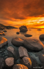 Fire over the Lake (PhotoPandit) Tags: sunset orange laketahoe filters bonsairock