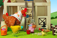 Food of the Chickens II (Gnome Girl!) Tags: food rabbit bunny chicken girl barn fence easter march spring birdseed basket farm egg meadow chick rement hen hgwells plantoys foodofthegoods ruthrivers missbumbles