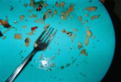 (kittybow) Tags: food closeup dinner blurry plate fork outoffocus disposablecamera coops mintgreen casazimbabwe