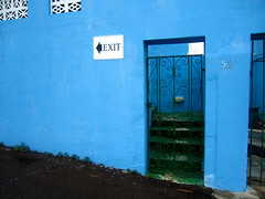 Building off Water Street, St. George's (dontcallmecasss) Tags: door blue building island turquoise stgeorges bermuda exit subtropical