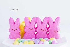 hiding... (jeannie_thiessen) Tags: pink silly bunnies easter candy marshmallow peeps hiding